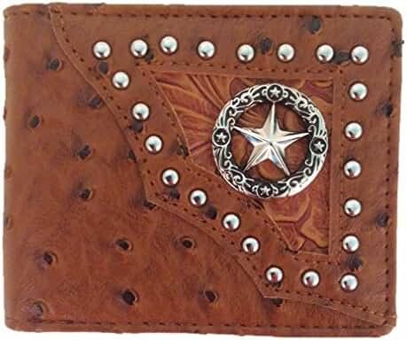 Texas Long Star Mens Wallet Western Bifold W012-1 Ostrich Brown