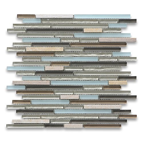 Lake Blue Beige Brown Grey Glass Mix Sunny Yellow Marble Random Linear Brick Mosaic Tile