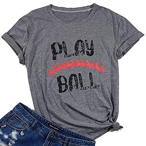 - Baseball Mom T-Shirt Letter Print Funny Tops Short Sleeve Casual Tee Casual Short Sleeve Shirt Tops for Women Gray