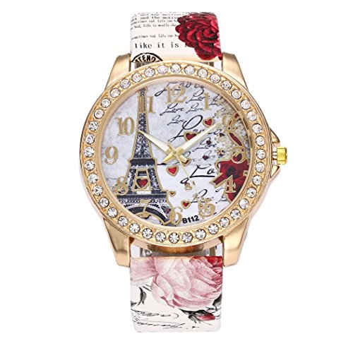 BCDshop Womens Wrist Watch Vintage Paris Eiffel Tower Leather Band Crystal Quartz Dial Watch (White, Stainless Steel) -