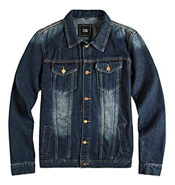 ZSHOW Men's Casual Denim Jacket Bomber Jacket at Amazon Men's ...