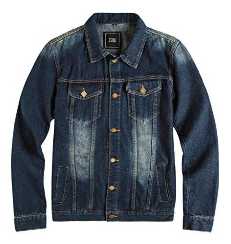 ZSHOW Herren Casual Slim Jeans-Jacke(Dunkelblau,L)