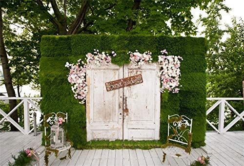 OFILA Secret Garden Backdrop 7x5ft Garden Tea Party Photography Background Baby Shower Party Decoration Girls Birthday Portraits Wedding Photos BBQ Party Shoots Maternity Photos Video -