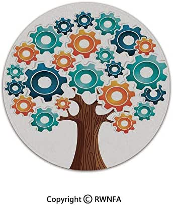 Art Deco Non-Slip Super Soft Children Play Carpet,Innovation Gears Concept Tree The System of Nature Cooperation Start Up Modern Graphic 3' Diameter Multi,Sofa Bath Floor Mat