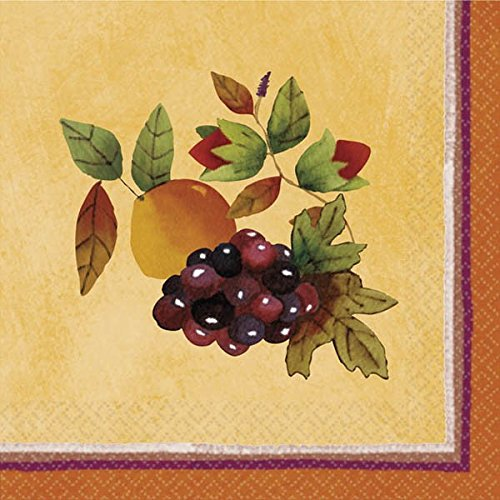 (Thanksgiving Medley Gold Beverage Paper Napkins, 16 Ct. | Party Tableware)