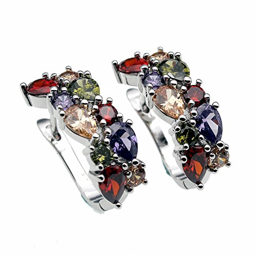 Garnet Rose Jewelry Set (Hermosa Plated Silver Rose Gold Plated Multi Gemstones Sets Garnet Peridot Amethyst Morganite (Silver Stud))