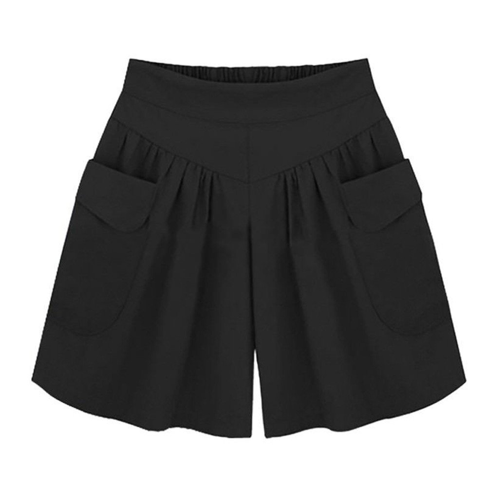 KIKOY Women Plus Size Solid Loose Hot Pants Pockets Ladies Summer Casual Shorts Black