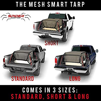 """SPIDER Smart Tarp, Heavy Duty Mesh Truck Tarp Bed Cover with 4 Built in Attached Adjustable Bungee Cords, Cargo Net Alternative for Short Bed Truks - 7' x 7' 6"""": Automotive"""