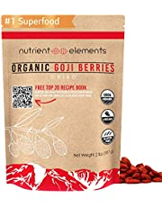 Premium Organic, Raw & Dried Goji Berries - USDA Certified - 2 lbs/32oz (907g) - Natural Superfood - Extra Large, Non GMO Berries with Resealable Bag by Nutrient Elements - Free Recipes E-Book