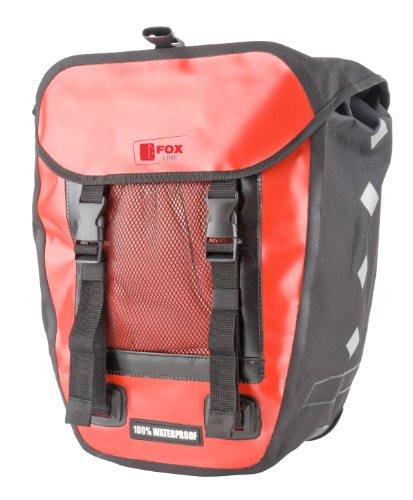Fox Line, Tasca portapacchi posteriore per bici, Rosso (Rot/Schwarz), 33,5 x 16 x 60 cm