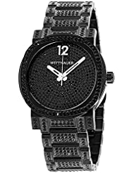 Wittnauer Black Ion Crystal Mens Watch, Crystal Pave Setting, Stainless Steel