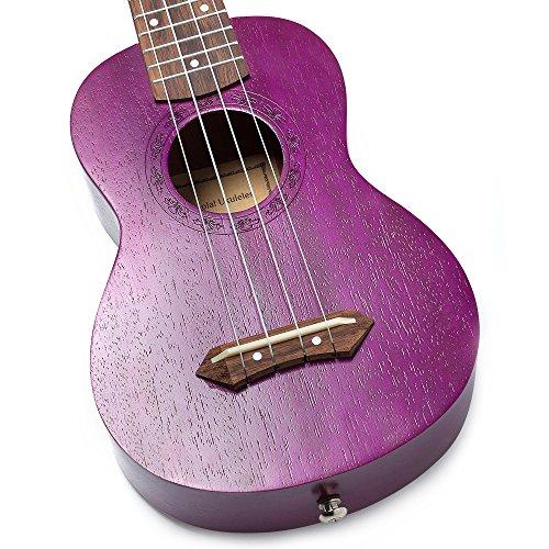 Hola! Music HM-121PP+ Deluxe Mahogany Soprano Ukulele Bundle with Aquila Strings, Padded Gig Bag, Strap and Picks - Purple - Image 2