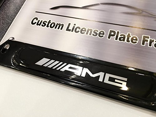 (AMG Performance Logo Emblem Modern GLOSS BLACK Finish License Plate Frame Automotive Grade 100% Stainless Steel Durable Construction, Fits all Mercedes-Benz MB Affalterbach Mercedes Maybach models)