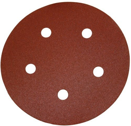 PORTER-CABLE 735501225 5-Inch Hook & Loop Sandpaper, 120 Grit with 5 Holes (25-Pack)