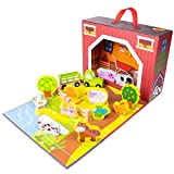 Imagination Generation Take-Along Barnyard Playset | Portable, Foldable Farm House Set | Comes with Fences, Animals, Crops, and Bales of Hay | Also Includes Cart and Tractor for Pretend Farmer Play