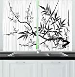 Ambesonne Modern Decor Kitchen Curtains, Japanese Cherry Blossoms Asian Tree Branches with Flowers Leaves Image, Window Drapes 2 Panels Set for Kitchen Cafe, 55W X 39L Inches, Black and White