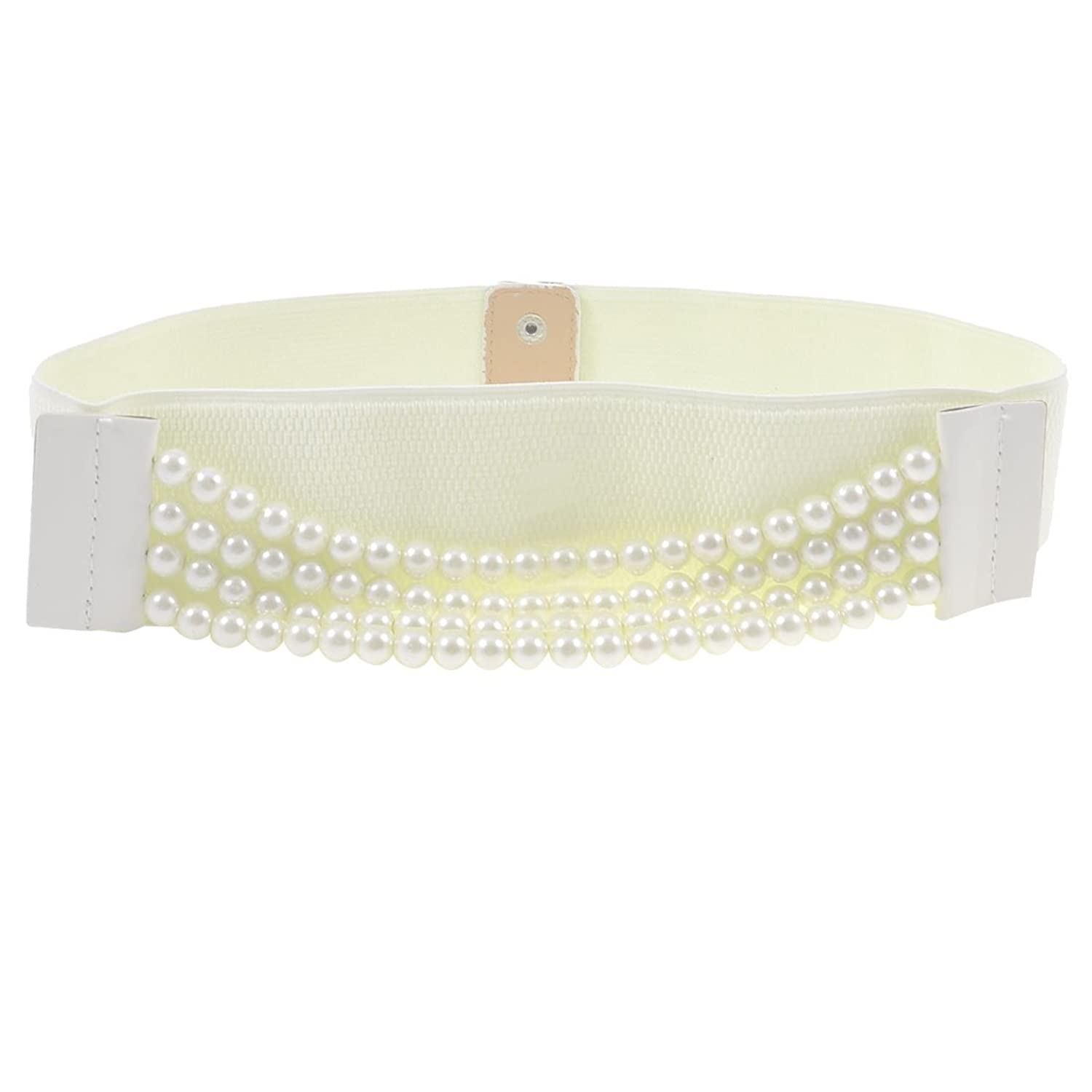 Faux Pearls Accent Press Stud Button Stretchy Waist Belt 6CM Wide for Woman