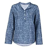 Clearance ShenPr Women's V Neck Buttons Floral Print Tunic Shirt Long Sleeve Tunic Tops Blouse for Leggings
