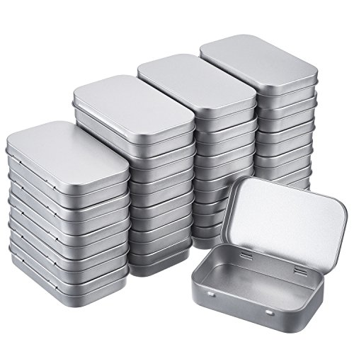 Empty Mint Tins (Shappy Silver Metal Rectangular Empty Hinged Tins Box Containers Basic Necessities Tins Mini Portable Box Small Storage Kit Tin Holders Box Set, Home Organizer, 3.75 by 2.45 by 0.8 Inch (24 Pack))