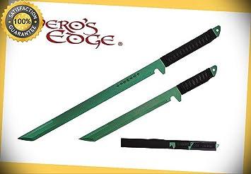 2 PC Set Full Tang Green Blade Straight Ninja Sword with ...