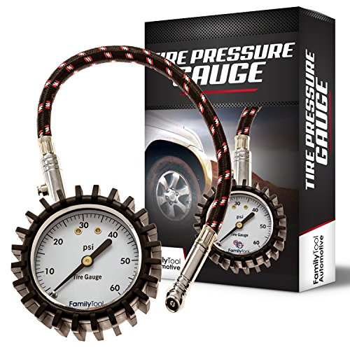 Tire Pressure Gauge - Heavy Duty - Reliable and Accurate Air Pressure Gauge for Car, SUV, Motorcycle, RV, ATV and Truck Tires - 60PSI - by FamilyTool Automotive