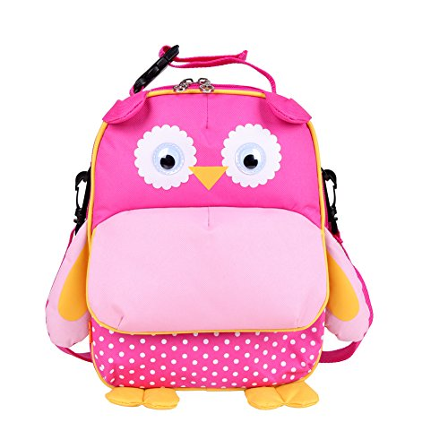 Yodo 3-Way Convertible Playful Insulated Kids Lunch Boxes Carry Bag/Preschool Toddler Backpack for Boys Girls, with Quick Access front Pouch for Snacks, Pink Owl