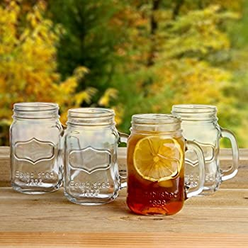 32 oz mason jar drinking glasses with handles how to make lids cups straws lily home old fashioned vintage inspired set ou