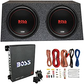 Sale Off Boss Chaos Exxtreme 12' 1200W 4 Ohm Subwoofer (Pair) w/Box Mono Amp & Wiring