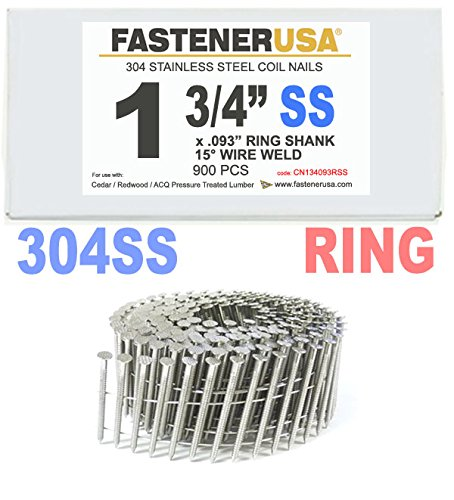 1 3/4'' x .093 RING 304 STAINLESS COIL NAILS 15 DEGREE WIRE 900ct SidePak