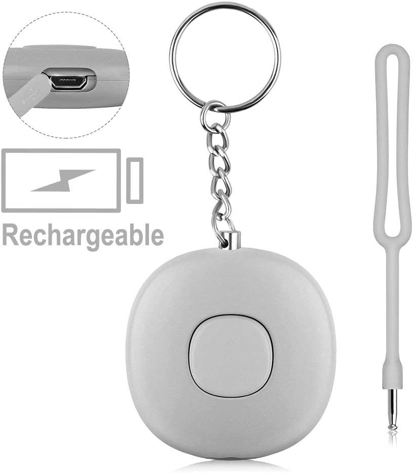 Rongsmart Safe Personal Alarm For Women Siren Song Safesound Keychain with 140db Siren 140mAh Rechargeable Battery For Elder Students Kids Pink Best Gift For Mother Girlfriend Children