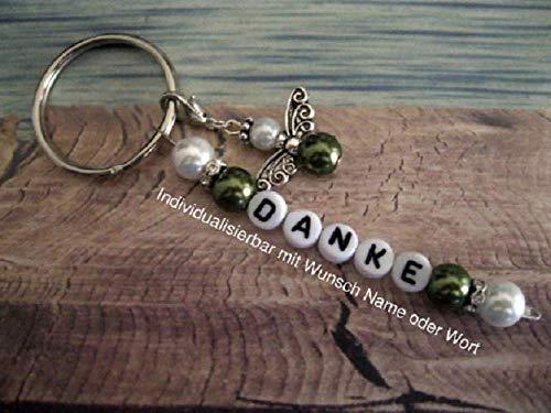 Handmade Schlüsselanhänger, Taschenanhänger Danke in Grün/Weiß mit Schutzengel- Text ist individualisierbar mit Wunschwort oder Namen