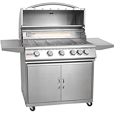 Blaze Blz-5-Lp 40 Inch 5-Burner Built-In Propane Gas Grill With Rear Infrared Burner And Grill Cart BLZ-5-LP + BLZ-5-CART