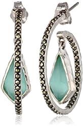 "Judith Jack ""Mint Elegant"" Sterling Silver Marcasite Mint Drop Hoop Earrings"