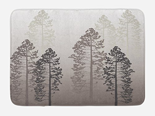 (Ambesonne Country Bath Mat, Pine Trees in The Forest on Foggy Seem Ombre Backdrop Wildlife Adventure Artwork, Plush Bathroom Decor Mat with Non Slip Backing, 29.5