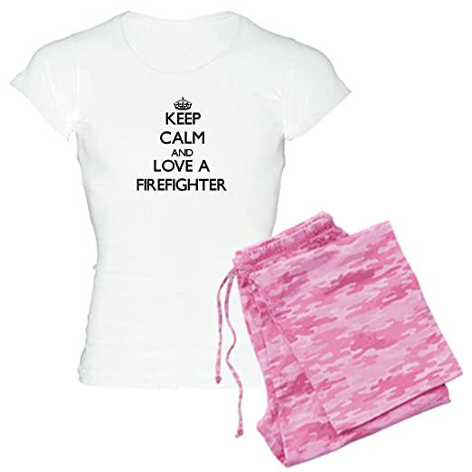 CafePress - Keep Calm And Love A Firefighter Pajamas - Womens Novelty  Cotton Pajama Set 2c901cd66