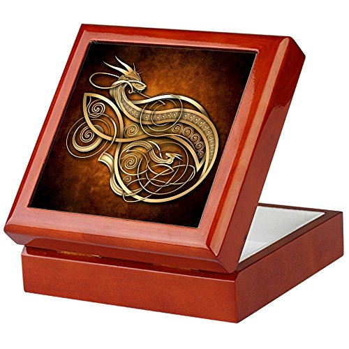 CafePress - Gold Norse Dragon - Keepsake Box, Finished Hardwood Jewelry Box, Velvet Lined Memento Box (Dragon Keepsake)