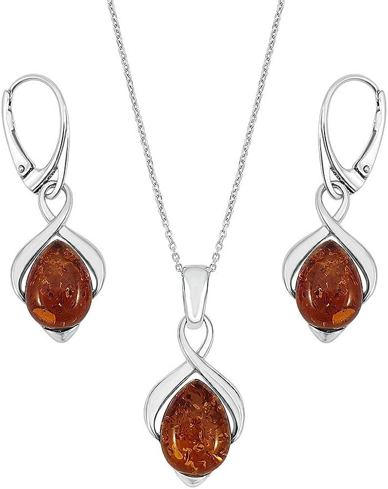 Kiara Jewellery - Juego de collar y pendientes a juego de plata de ley 925 con incrustaciones de ámbar coñac en cadena de plata de ley de 45,7 cm