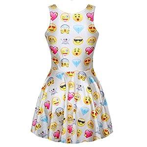 Celewe Women's Girls 3D Digital Emoji Print Skater Pleated Dress