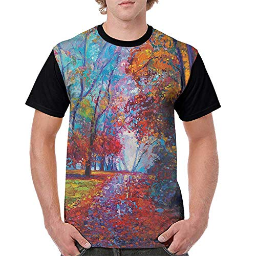 - Men's Tops Blouses,Country,Colorful Fairy Paint of Park in Fall Arts View of The Earth and Trees in The Nature Art, Multi S-XXL Tee Tshirts Men