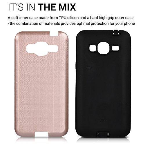 kwmobile Funda para Samsung Galaxy J3 (2016) DUOS - Case híbrida Diseño Bóveda de TPU silicona - Hard Cover Diseño Bóveda en antracita negro Híbrido oro rosa negro