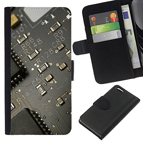 Funny Phone Case // Cuir Portefeuille Housse de protection Étui Leather Wallet Protective Case pour Apple Iphone 5C /PCB Conseil Transistor/