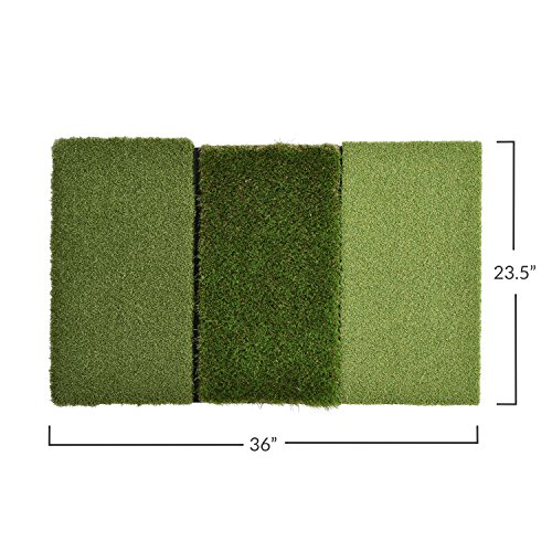 Rukket XL Tri-Turf Golf Hitting Grass Mat | Realistic Fairway & Rough | Extra Large Portable Driving, Chipping, Training Aids | Backyard & Indoor Practice with 12 Plastic Tees (XL (23.5' x 36'))