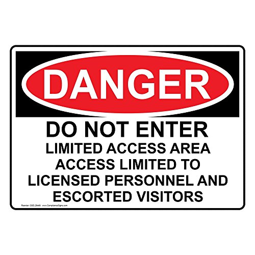 ComplianceSigns Vinyl OSHA DANGER Do Not Enter Limited Access Area Access Labels, 5 x 3.50 in. with English Text, White, pack of 4