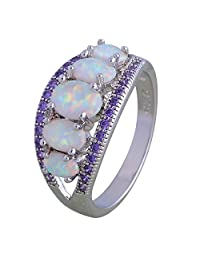 Amethyst White Fire Opal 925 Sterling Silver Ring Gift Party Wedding Oval Opal rings for women R177