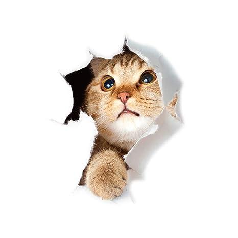 Rocita Pegatinas de Pared Amarilla del Gato 3D Etiqueta de la Pared Decal Mural Broken Pared del Agujero de la Vida Real Animales Gatos Vinilo PVC ...