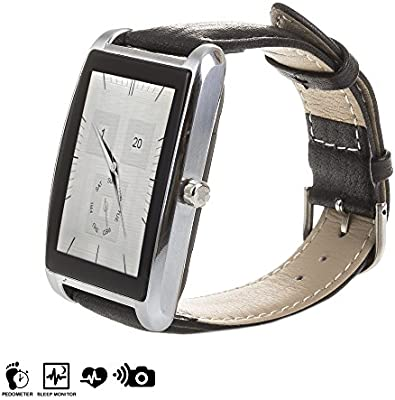 DAM DMS081 - Smartwatch l11 con Correa de Piel, Color Plata ...