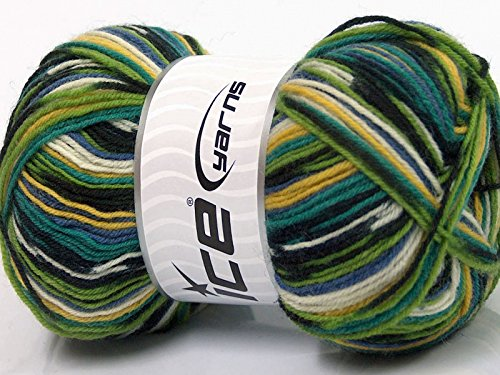 ((1) 100 Gram Super Sock, Green Blues Yellow Black White Self-Patterning Superwash Wool Sock Yarn)