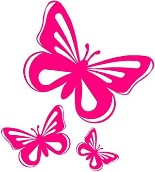 Pink Butterfly Vinyl Stickers Decalscarwindowvan Amazoncouk - Vinyl decals for cars uk