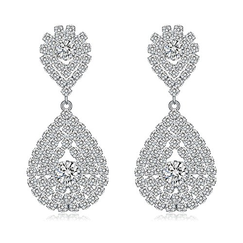 Paxuan Rhinestone Teardrop Earrings Hypoallergenic