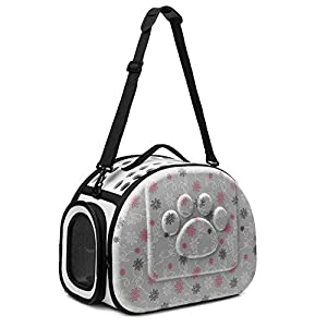CORALTEA EVA Cute Portable Collapsible for Pets of Medium Size Cats & Dogs Airline Approved Outdoor Under Seat Travel Pet Carrier Soft Sided Puppy Bag (gray)